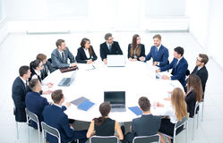 Round table discussion at Business convention and Presentation. Stock Images