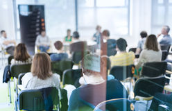 Round table discussion at business and entrepreneurship convention. royalty free stock photo