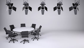 Round table and eight office chairs vector illustration