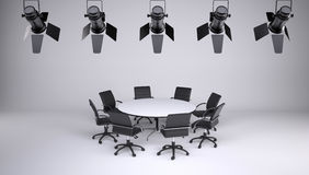 Round table and eight office chairs royalty free illustration