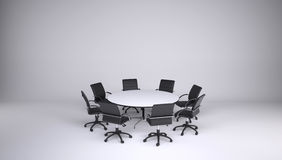 Round table and eight office chairs Stock Image