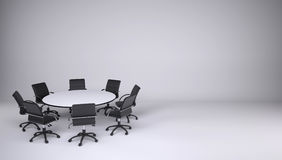 Round table and eight office chairs Stock Photos