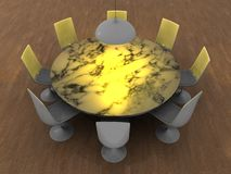 Round table interior Stock Photos
