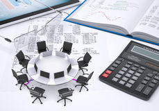 Round table, laptops, placed on tablet pc, book, Royalty Free Stock Photo
