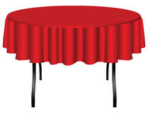 Round table on legs. Covered with a red cloth. Vector illustration Stock Photography