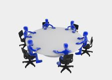 Round table meeting. Six 3d figures sitting at a round table, blue over white background Royalty Free Stock Image
