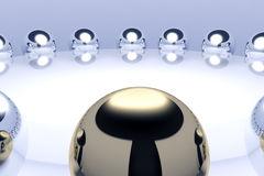 Meeting of steel spheres. Round Table meeting with group Stock Image