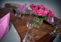 Round table modern serving Stock Image