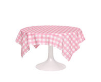 Round table with pink checkered tablecloth. On white. 3D rendering Royalty Free Stock Photo