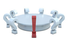 Round table with red exclamation and group of whit Royalty Free Stock Photo