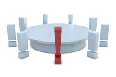 Round table with red and group of white exclamatio Stock Photos