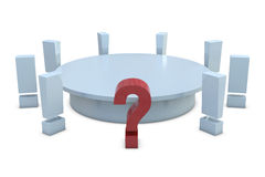 Round table with red question and group of white e Stock Photos