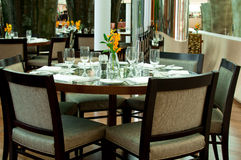 Round Table at the Restaurant Royalty Free Stock Photo