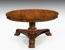 Round table rosewood tilt topped  English antique vintage Royalty Free Stock Photos