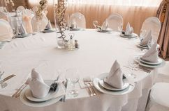 Set table on wedding stock image
