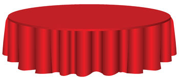 Round table with tablecloth. Round table with red tablecloth. Vector illustration Royalty Free Stock Photo