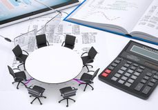 Round table, tablet pc, book, calculator, glasses Royalty Free Stock Photos