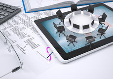 Round table,,tablet pc, book, calculator, glasses Stock Photos