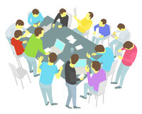Round-table talks. Thirteen persons set. Group of business people team meeting conference Stock Images