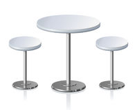 Round table. Vector illustration. Big lap disk shape pale grey stylish 3d board and pews stand on one shiny stem foot on light backdrop. Club concept design Stock Image