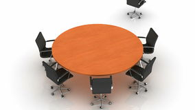 Round Table. White background, created in 4K, 3d animation royalty free illustration