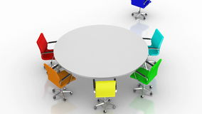 Round Table. White background, created in 4K, 3d animation vector illustration
