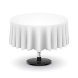 Round table with white cloth. Stock Image