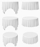 Round tablecloth set. White round tablecloth set isolated on white, 3d illustration stock illustration