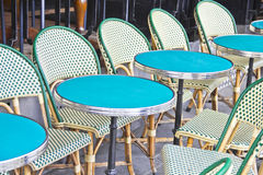 Round tables in a cafe in Paris Stock Photo