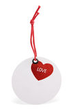 Round tag with heart image Stock Photos