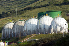 Round tanks of gas Royalty Free Stock Photo