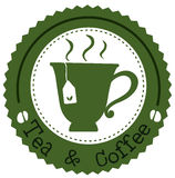 A round tea and coffee label Royalty Free Stock Image