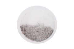 Round teabag. A close-up photo of round teabag. Isolated on a white background Royalty Free Stock Photos