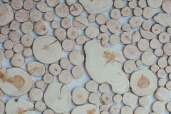 Round teak wood stump background. Eco style, rustic, decor. Sawn trunk of a tree Royalty Free Stock Images