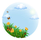 A round template with blooming flowers and butterflies Stock Photos