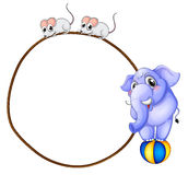 A round template with a blue elephant and playful mice Stock Images