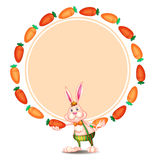 A round template with a bunny and carrots. Illustration of a round template with a bunny and carrots on a white background Stock Images