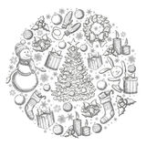 Round template with Christmas icons. Monochrome sketch style Christmas illustration for decoration. Vector Royalty Free Stock Photos