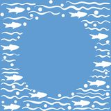 Round template with fish, blue. Round template with fish, hand drawn with brush pen, inc. Vector Stock Images