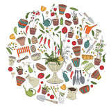 Round template with gardening tools, flower pots and vegetables Royalty Free Stock Photos