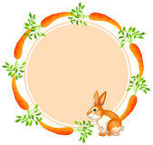 A round template with a rabbit and carrots. Illustration of a round template with a rabbit and carrots on a white background Royalty Free Stock Photography