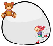 A round template with a young girl rollerskating and a bear Royalty Free Stock Photography