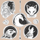Round templates with animals. Horses, fox, wolf, eagle. Vector illustrations in boho style for stickers, t-shirt design and other Stock Photography