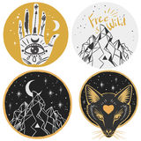 Round templates with mountains, fox head, hand, moon. Vector illustrations in boho style for stickers, t-shirt design and other Royalty Free Stock Photos