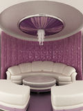 Round tent on the ceiling with Curtain and sofa. In luxury interior. Sofa and round table Vector Illustration