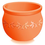 Round Terracotta Planter, Floral Design. Round terracotta clay flower pot planter with embossed floral designs. EPS8 compatible Stock Images