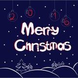 Round text on blue background. Round hand draw text on blue background with cristmas balls and spruces. Vector illustration stock illustration