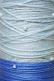 Round texture of blue woolen threadsh beads Royalty Free Stock Image