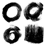 Round textured prints with paint on paper set 2 Royalty Free Stock Photo