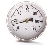 The round thermometer isolated Royalty Free Stock Photos